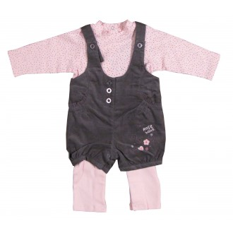 Ensemble Salopette Baby Rose