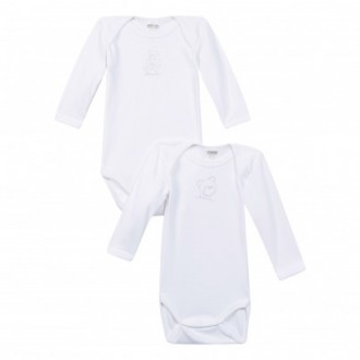 Lot de 2 body blanc manches longues Absorba