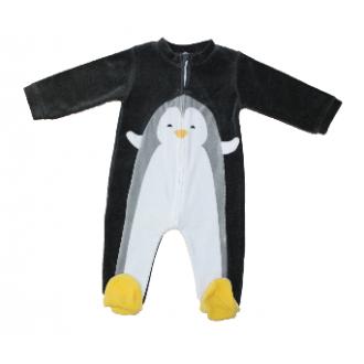 Pyjama velours Absorba Pingouin Gris