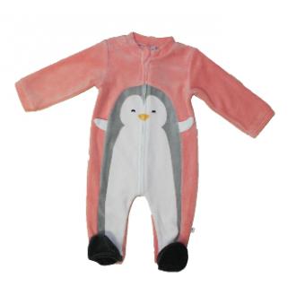 Pyjama velours Absorba Pingouin Rose