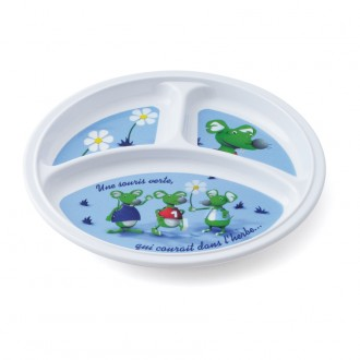 Assiette 3 compartiments Souris Verte Lot de 12